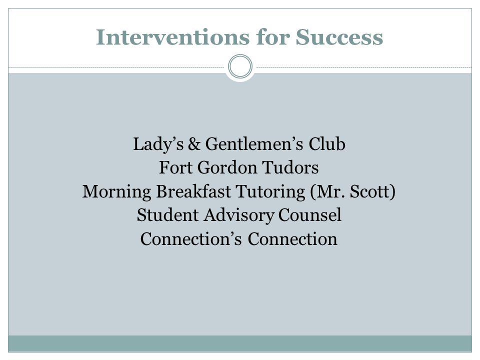 Interventions for Success Lady's & Gentlemen's Club Fort Gordon Tudors Morning Breakfast Tutoring (Mr.
