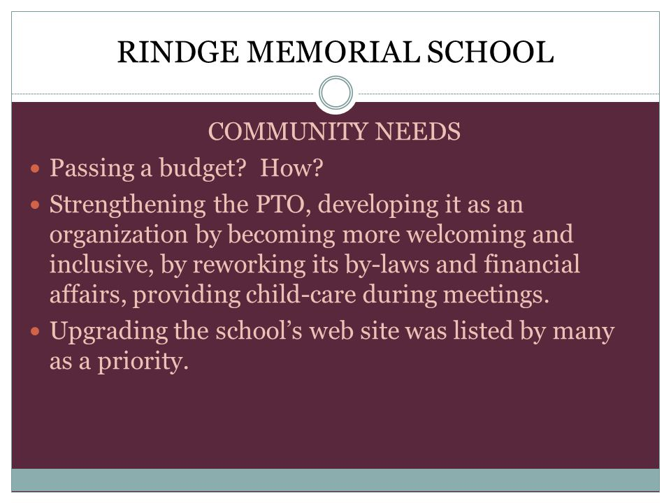 RINDGE MEMORIAL SCHOOL COMMUNITY NEEDS Passing a budget.