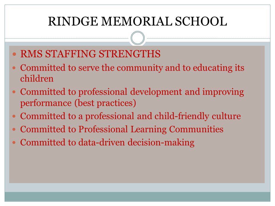 RINDGE MEMORIAL SCHOOL RMS STAFFING STRENGTHS Committed to serve the community and to educating its children Committed to professional development and improving performance (best practices) Committed to a professional and child-friendly culture Committed to Professional Learning Communities Committed to data-driven decision-making