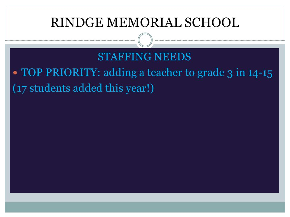 RINDGE MEMORIAL SCHOOL STAFFING NEEDS TOP PRIORITY: adding a teacher to grade 3 in 14-15 (17 students added this year!)