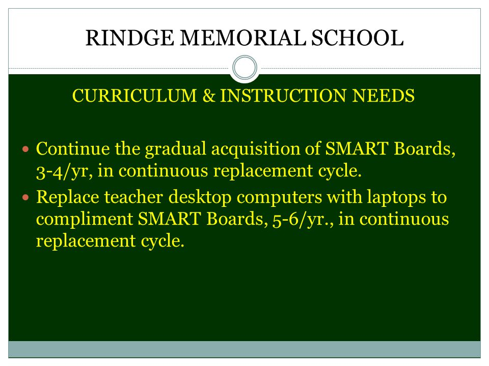 RINDGE MEMORIAL SCHOOL CURRICULUM & INSTRUCTION NEEDS Continue the gradual acquisition of SMART Boards, 3-4/yr, in continuous replacement cycle.