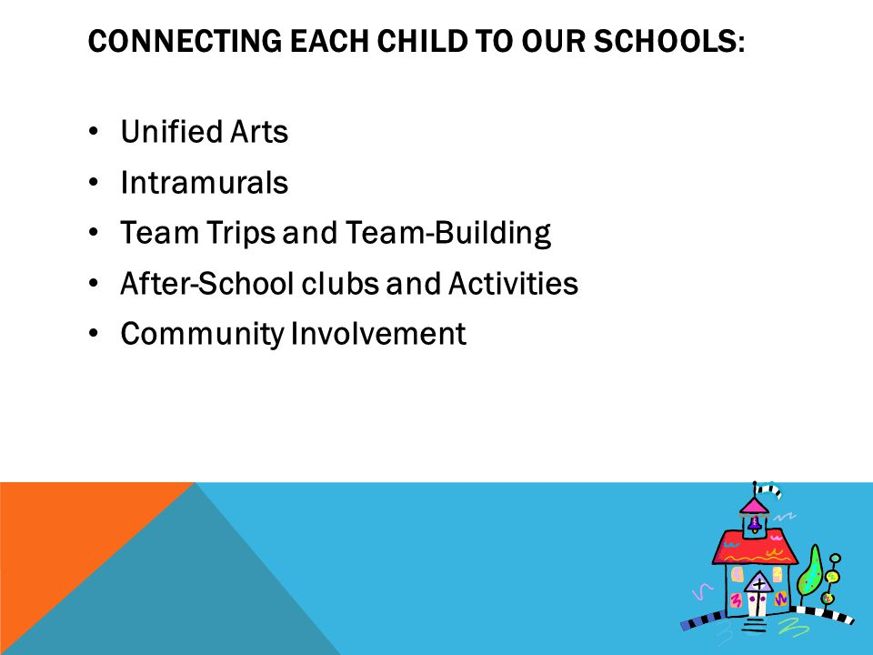 CONNECTING EACH CHILD TO OUR SCHOOLS: Unified Arts Intramurals Team Trips and Team-Building After-School clubs and Activities Community Involvement