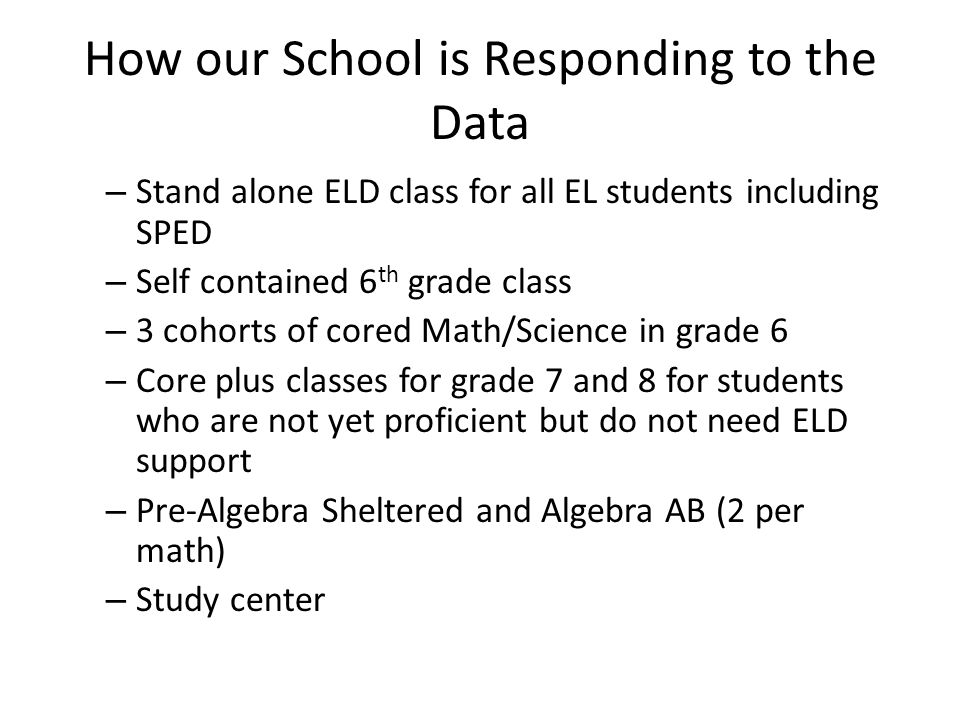 How our School is Responding to the Data – Stand alone ELD class for all EL students including SPED – Self contained 6 th grade class – 3 cohorts of cored Math/Science in grade 6 – Core plus classes for grade 7 and 8 for students who are not yet proficient but do not need ELD support – Pre-Algebra Sheltered and Algebra AB (2 per math) – Study center