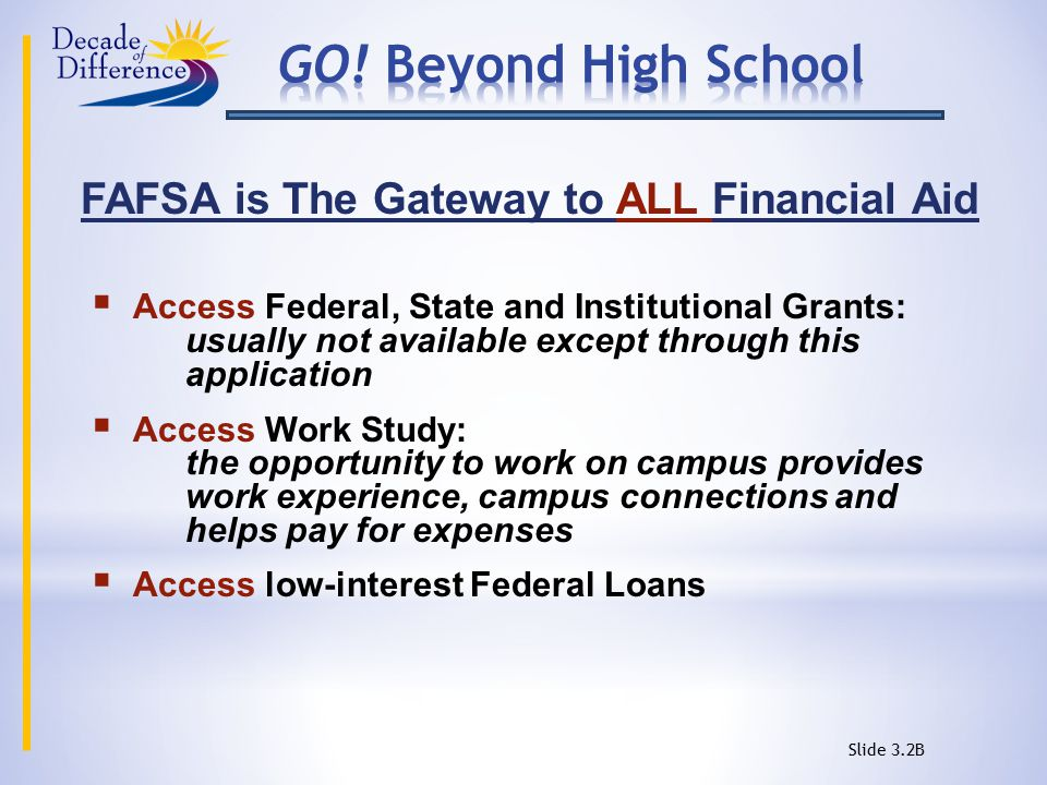 FAFSA is The Gateway to ALL Financial Aid  Access Federal, State and Institutional Grants: usually not available except through this application  Access Work Study: the opportunity to work on campus provides work experience, campus connections and helps pay for expenses  Access low-interest Federal Loans Slide 3.2B