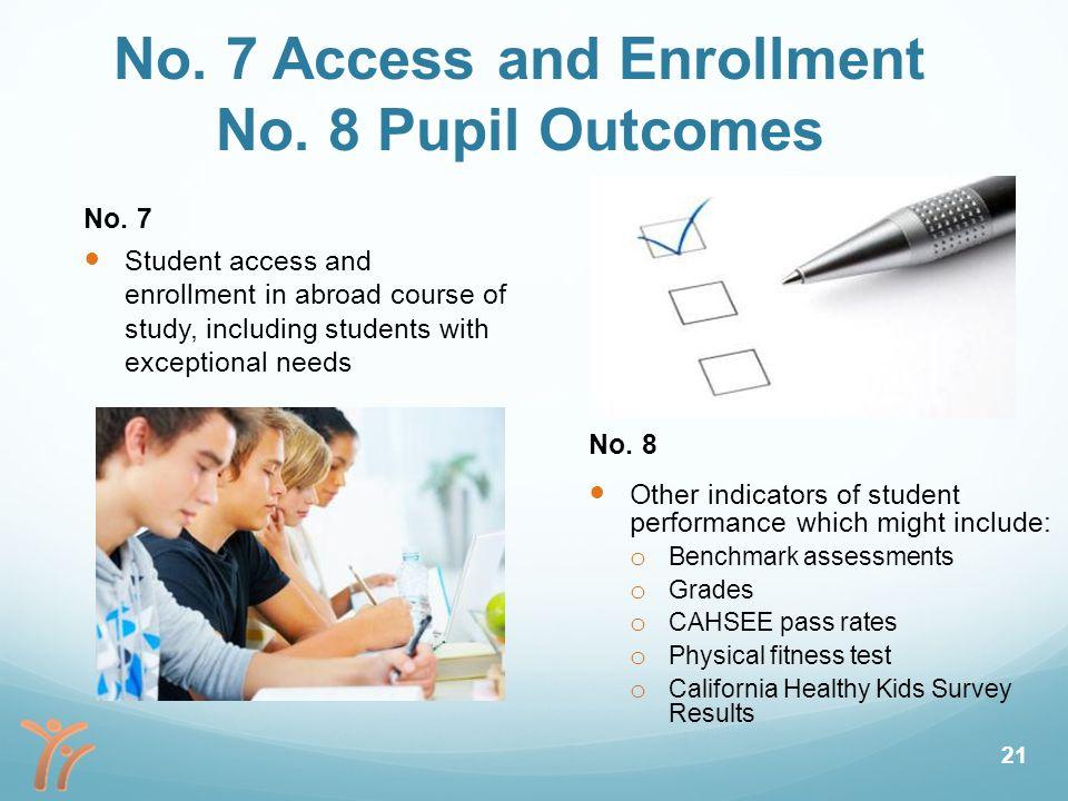 No. 7 Access and Enrollment No. 8 Pupil Outcomes No.