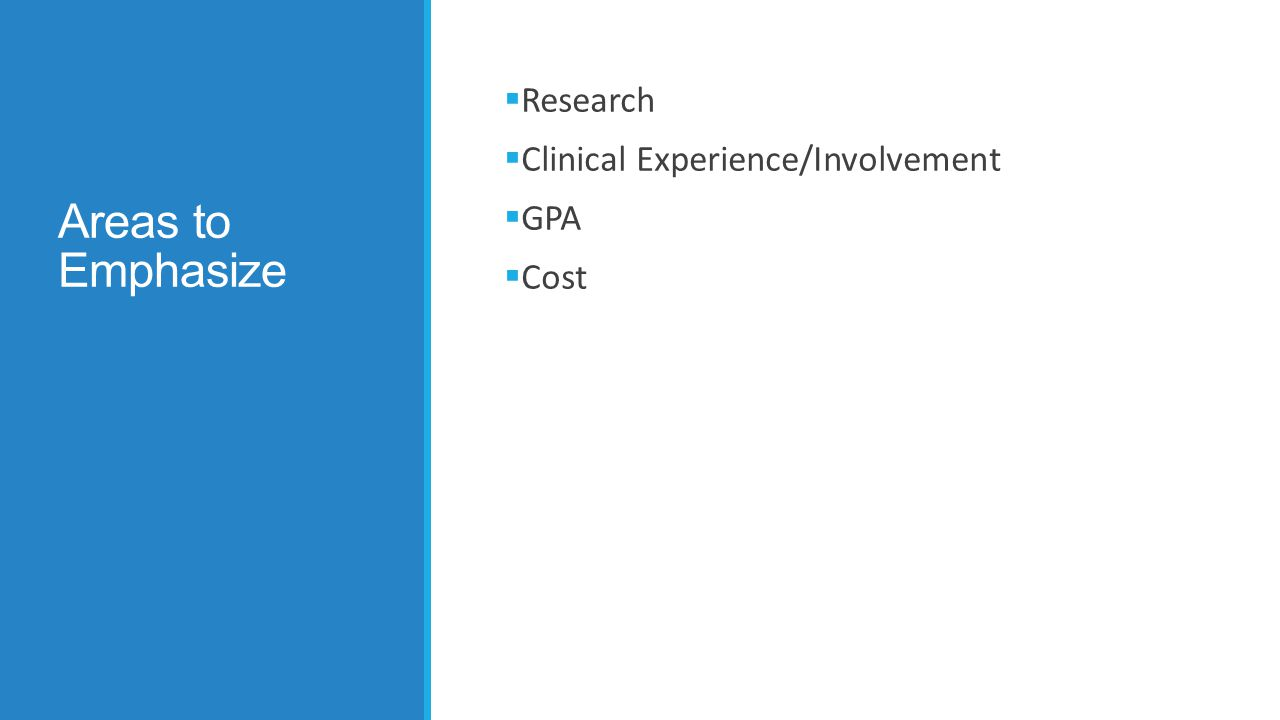 Areas to Emphasize  Research  Clinical Experience/Involvement  GPA  Cost