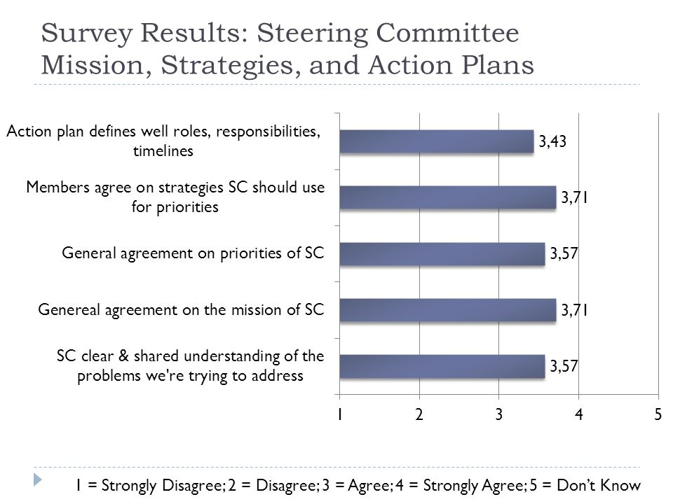 Survey Results: Steering Committee Mission, Strategies, and Action Plans 1 = Strongly Disagree; 2 = Disagree; 3 = Agree; 4 = Strongly Agree; 5 = Don't Know