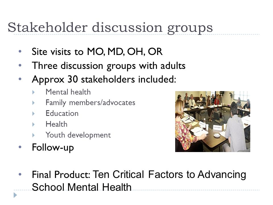 Stakeholder discussion groups Site visits to MO, MD, OH, OR Three discussion groups with adults Approx 30 stakeholders included:  Mental health  Family members/advocates  Education  Health  Youth development Follow-up Final Product: Ten Critical Factors to Advancing School Mental Health