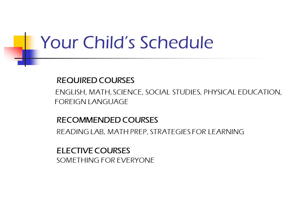 Your Child's Schedule REQUIRED COURSES ENGLISH, MATH, SCIENCE, SOCIAL STUDIES, PHYSICAL EDUCATION, FOREIGN LANGUAGE RECOMMENDED COURSES READING LAB, M