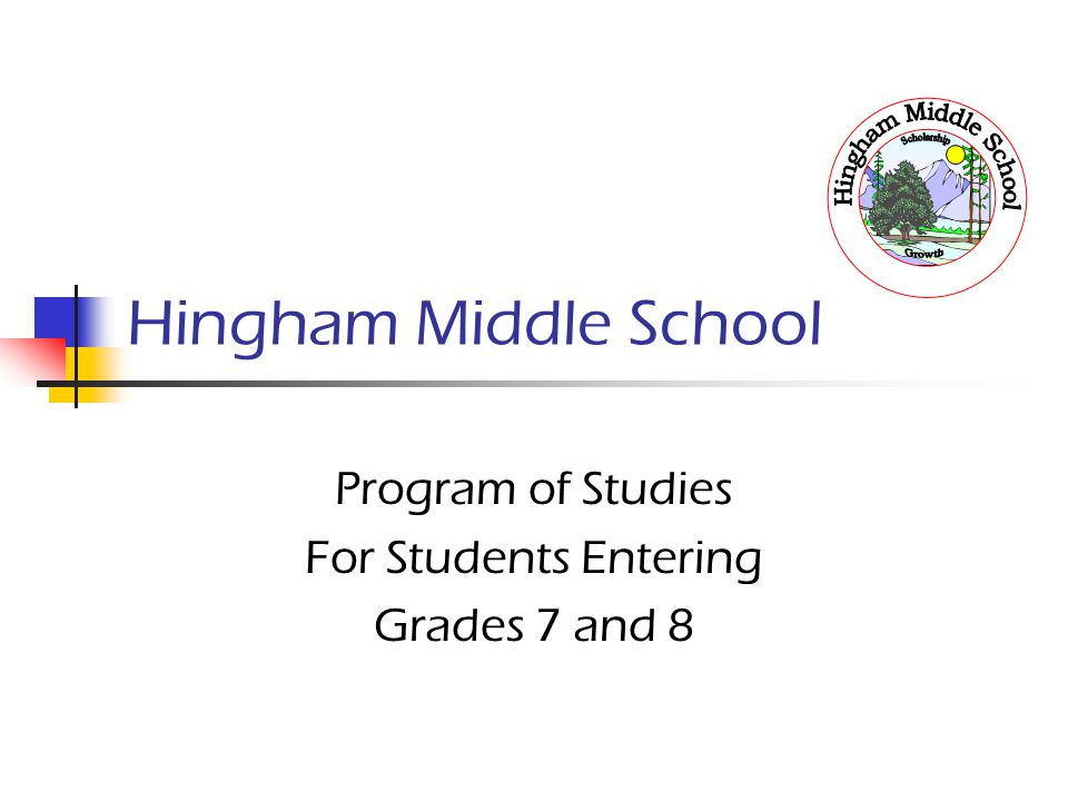 Hingham Middle School Program of Studies For Students Entering Grades 7 and 8