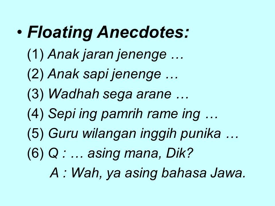 Floating Anecdotes: (1) Anak jaran jenenge … (2) Anak sapi jenenge … (3) Wadhah sega arane … (4) Sepi ing pamrih rame ing … (5) Guru wilangan inggih punika … (6) Q : … asing mana, Dik.