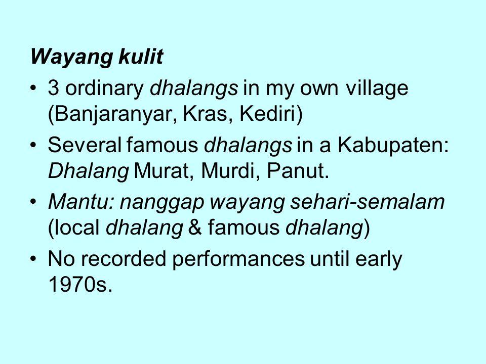 Wayang kulit 3 ordinary dhalangs in my own village (Banjaranyar, Kras, Kediri) Several famous dhalangs in a Kabupaten: Dhalang Murat, Murdi, Panut.