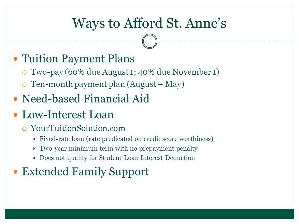 Need-Based Financial Aid Program 2014-152013-142012-132011-12 Students receiving Financial Aid 116111108 102 Percent of Student body receiving Financial Aid 38% 37%33%