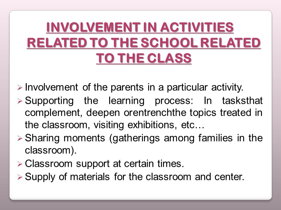 INVOLVEMENT IN ACTIVITIES RELATED TO THE SCHOOL RELATED TO THE CLASS  Involvement of the parents in a particular activity.  Supporting the learning
