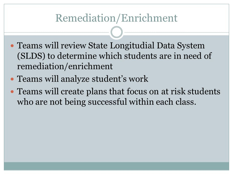 Remediation/Enrichment Teams will review State Longitudial Data System (SLDS) to determine which students are in need of remediation/enrichment Teams will analyze student's work Teams will create plans that focus on at risk students who are not being successful within each class.