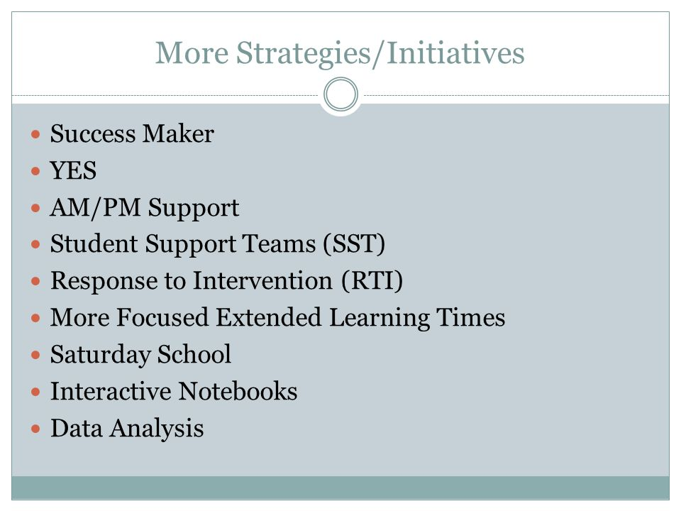 More Strategies/Initiatives Success Maker YES AM/PM Support Student Support Teams (SST) Response to Intervention (RTI) More Focused Extended Learning Times Saturday School Interactive Notebooks Data Analysis