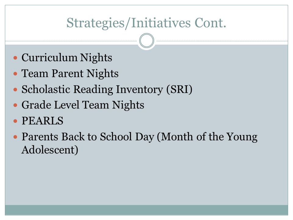 Strategies/Initiatives Cont. Curriculum Nights Team Parent Nights Scholastic Reading Inventory (SRI) Grade Level Team Nights PEARLS Parents Back to Sc