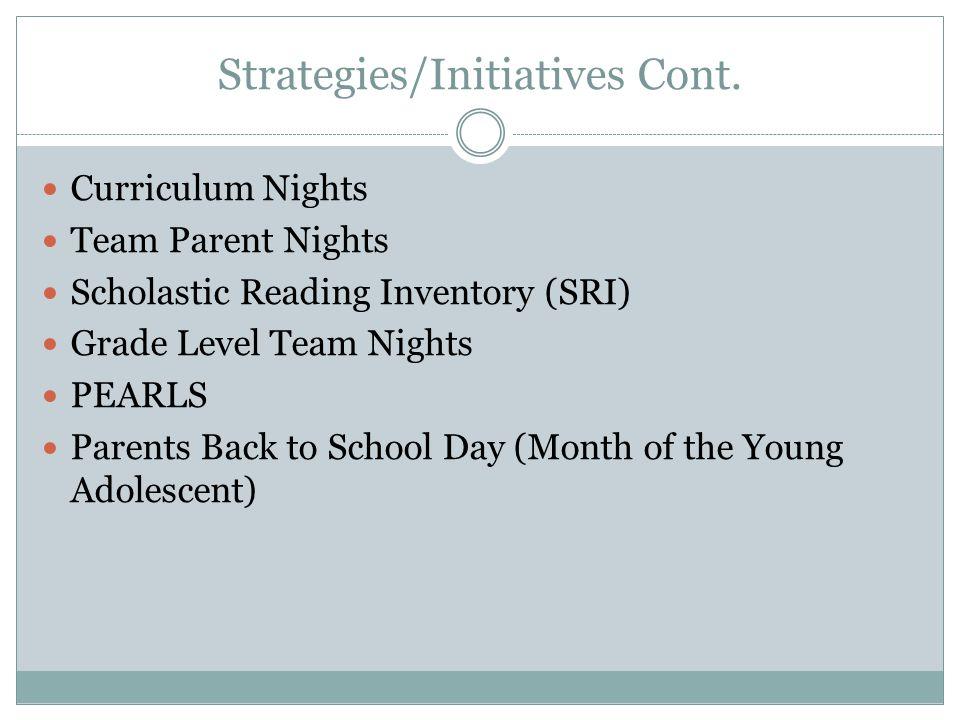 Strategies/Initiatives Cont.