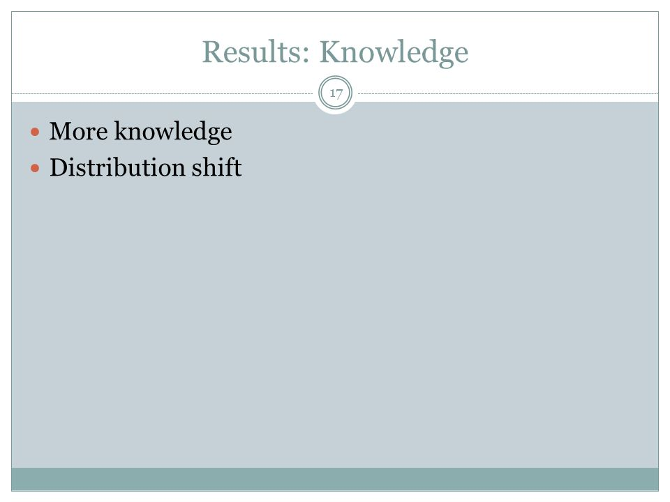 Results: Knowledge More knowledge Distribution shift 17