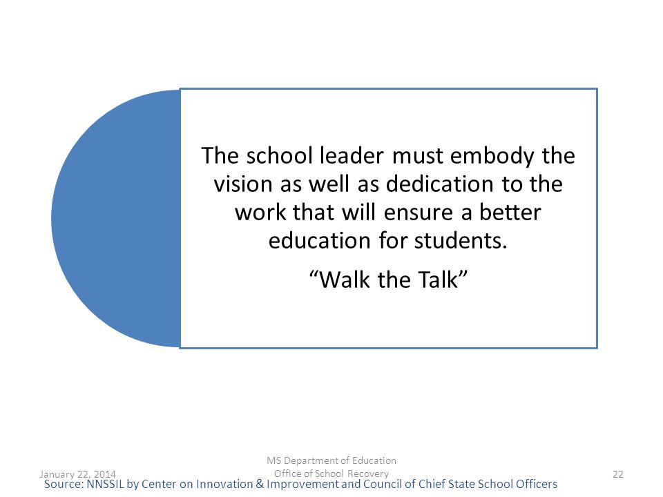 "The school leader must embody the vision as well as dedication to the work that will ensure a better education for students. ""Walk the Talk"" Source: N"