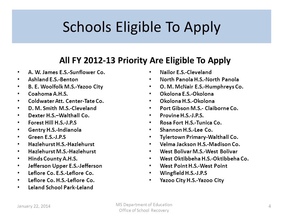 Schools Eligible To Apply All FY 2012-13 Priority Are Eligible To Apply A. W. James E.S.-Sunflower Co. Ashland E.S.-Benton B. E. Woolfolk M.S.-Yazoo C