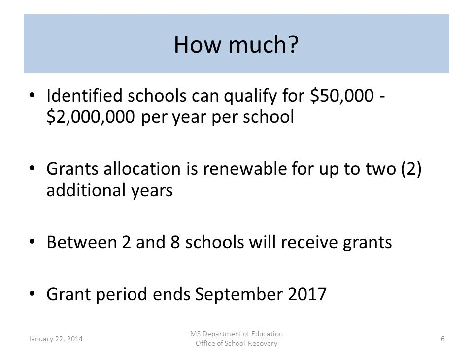 Annual Grant Renewal Funding for years 2 and 3 is contingent upon each school meeting established goals or on a clear trajectory to do so.
