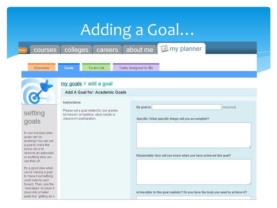 Adding a Goal…
