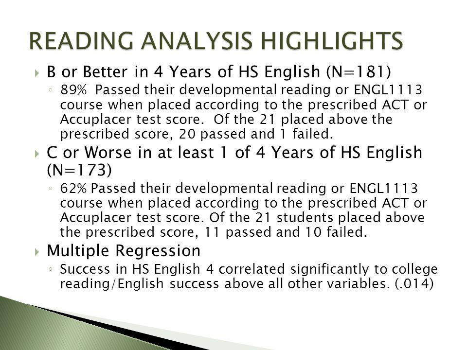  B or Better in 4 Years of HS English (N=181) ◦ 89% Passed their developmental reading or ENGL1113 course when placed according to the prescribed ACT or Accuplacer test score.