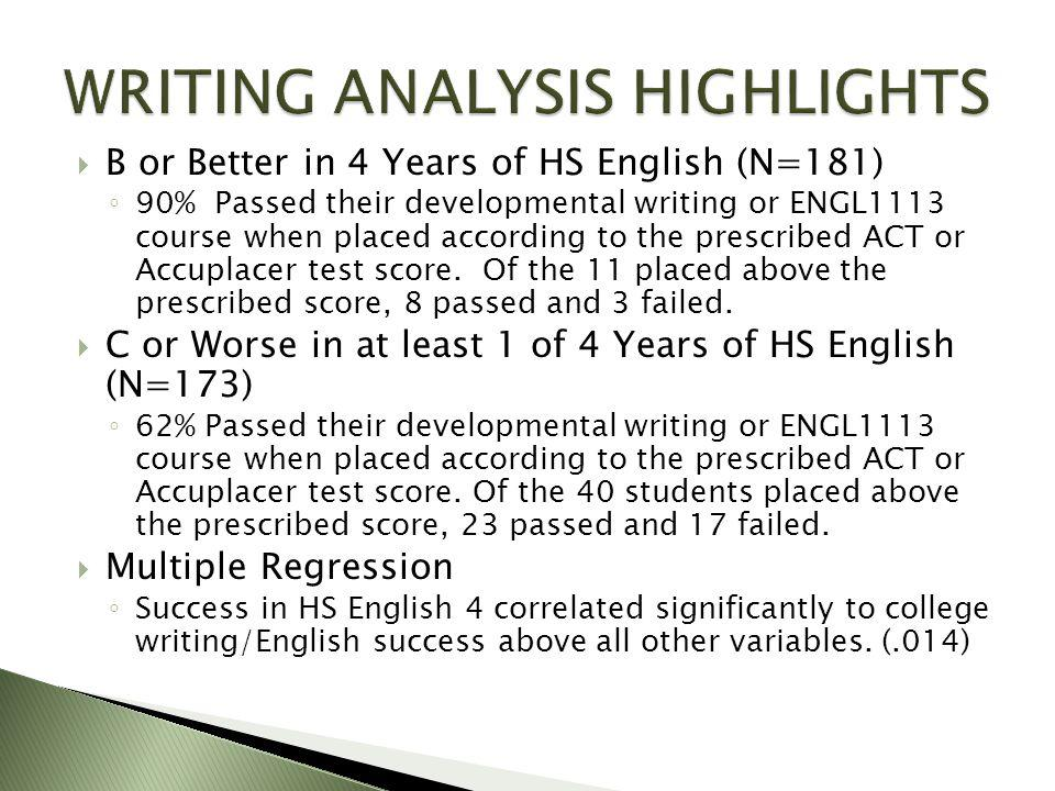  B or Better in 4 Years of HS English (N=181) ◦ 90% Passed their developmental writing or ENGL1113 course when placed according to the prescribed ACT or Accuplacer test score.