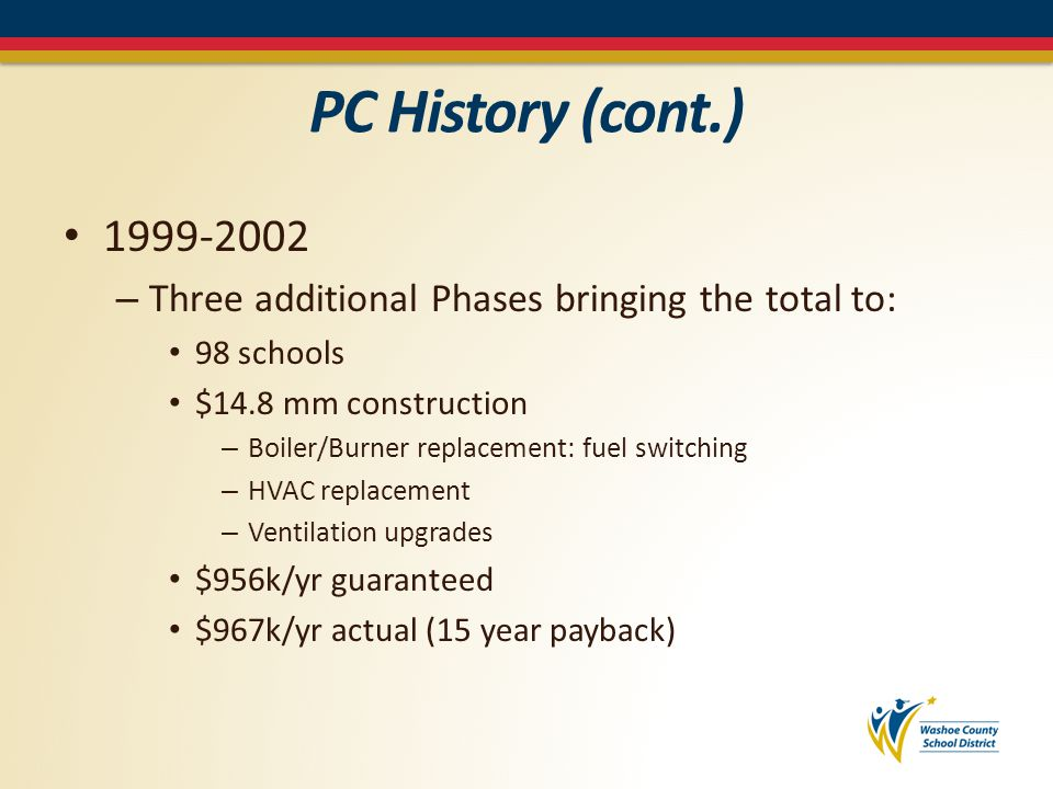 PC History (cont.) 2003 – Legislation approved an ACT establishing an alternative procedure for the installation or purchase of cost-savings energy measures in buildings Performance Contract NRS – 332 (Purchasing/Local Govnmt) & 333A (State of Nevada) More prescriptive than NRS-338 – Definitions – Operating & maintenance savings – Qualified Service Company selection – Contract requirements/guarantee