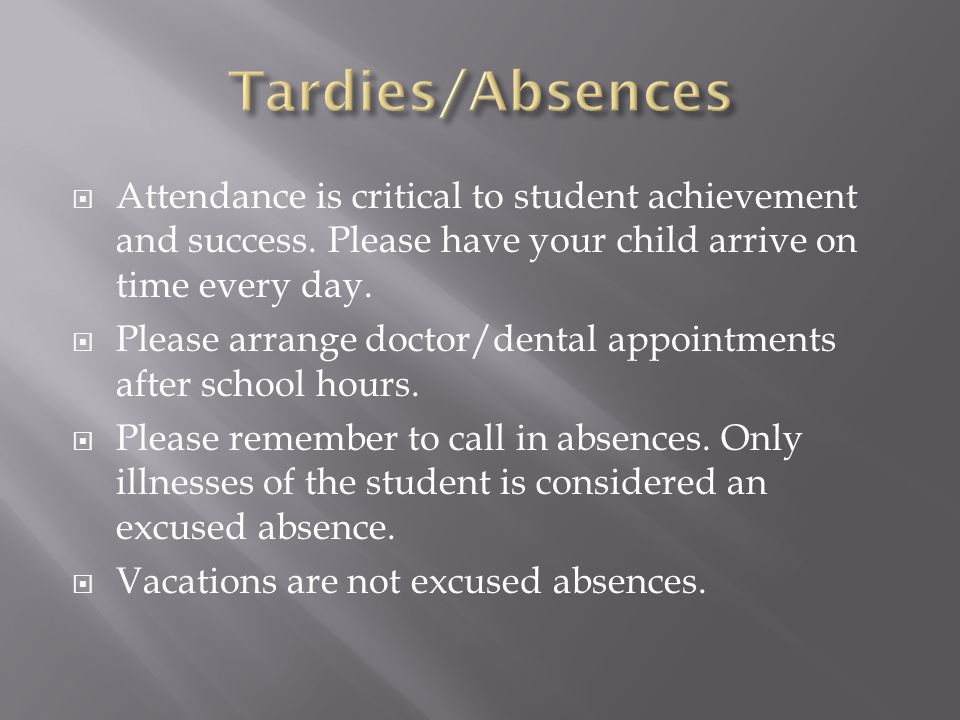  Attendance is critical to student achievement and success.