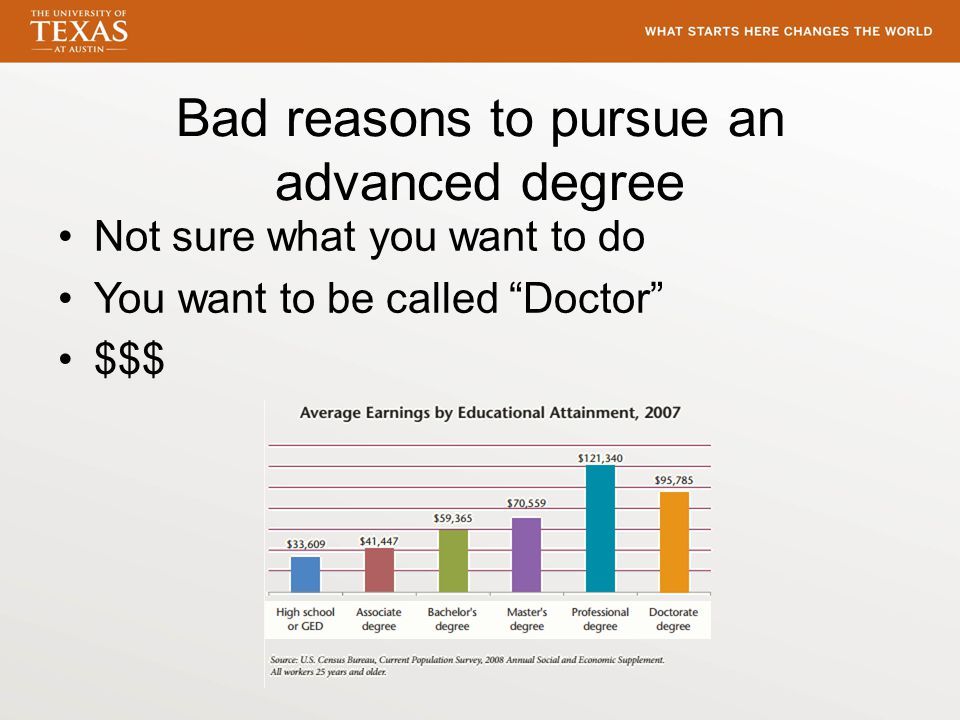 Bad reasons to pursue an advanced degree Not sure what you want to do You want to be called Doctor $$$