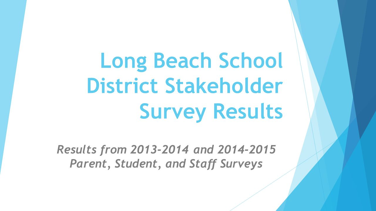 Score Summaries of Stakeholder Surveys 2013-2014 and 2014-2015 Survey:2013-2014 Surveys Completed: 2013-2014 Score: 2014-2015 Surveys Completed 2014-2015 Score: Parent3563.947424.15 Staff2144.082104.27 **Early Elementary Student 6262.842362.83 **Elementary Student 4582.755062.82 Middle/High Student1,0033.559673.73 **Early Elementary and Elementary Student Scores are based on a 3 point scale while the other surveys are based on a 5 point scale.
