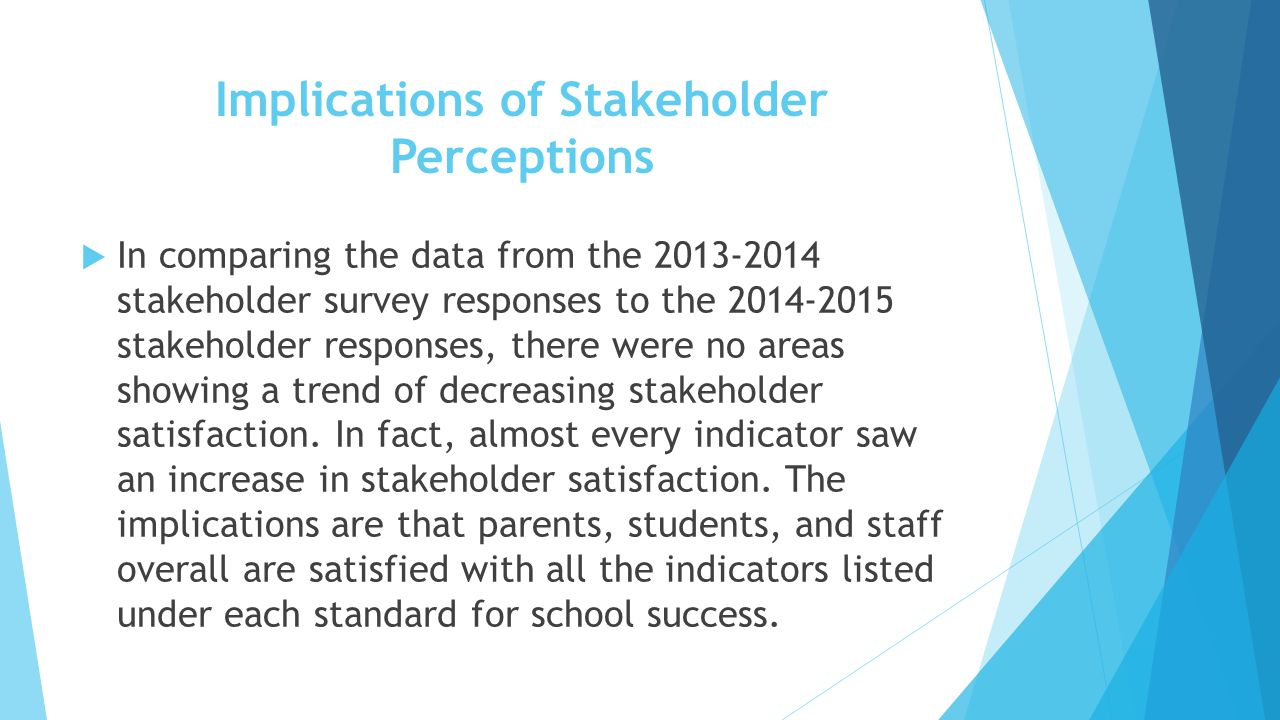 Implications of Stakeholder Perceptions  In comparing the data from the 2013-2014 stakeholder survey responses to the 2014-2015 stakeholder responses, there were no areas showing a trend of decreasing stakeholder satisfaction.