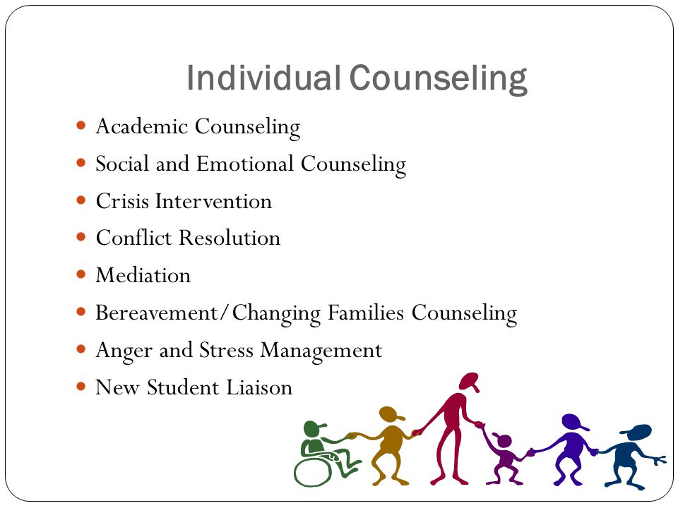 Individual Counseling Academic Counseling Social and Emotional Counseling Crisis Intervention Conflict Resolution Mediation Bereavement/Changing Families Counseling Anger and Stress Management New Student Liaison