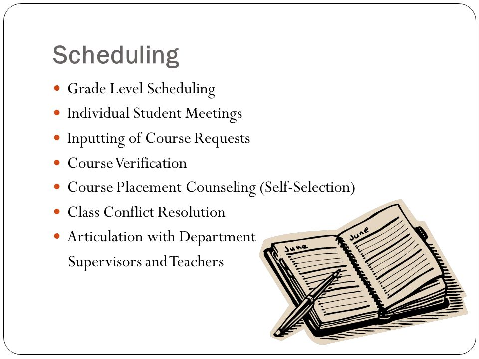 Scheduling Grade Level Scheduling Individual Student Meetings Inputting of Course Requests Course Verification Course Placement Counseling (Self-Selection) Class Conflict Resolution Articulation with Department Supervisors and Teachers