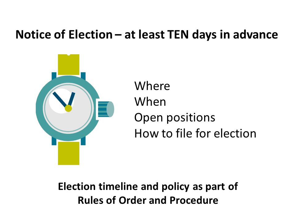 Where When Open positions How to file for election Notice of Election – at least TEN days in advance Election timeline and policy as part of Rules of
