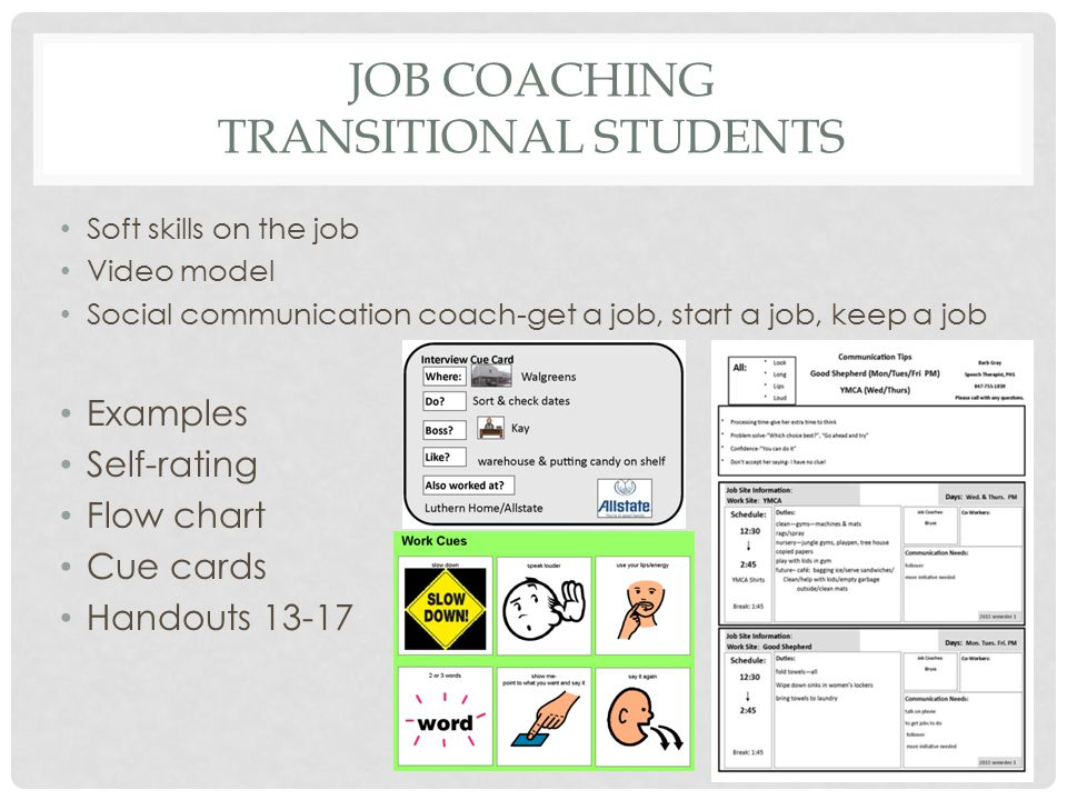 JOB COACHING TRANSITIONAL STUDENTS Soft skills on the job Video model Social communication coach-get a job, start a job, keep a job Examples Self-rati