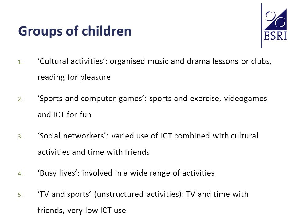 Groups of children 1.