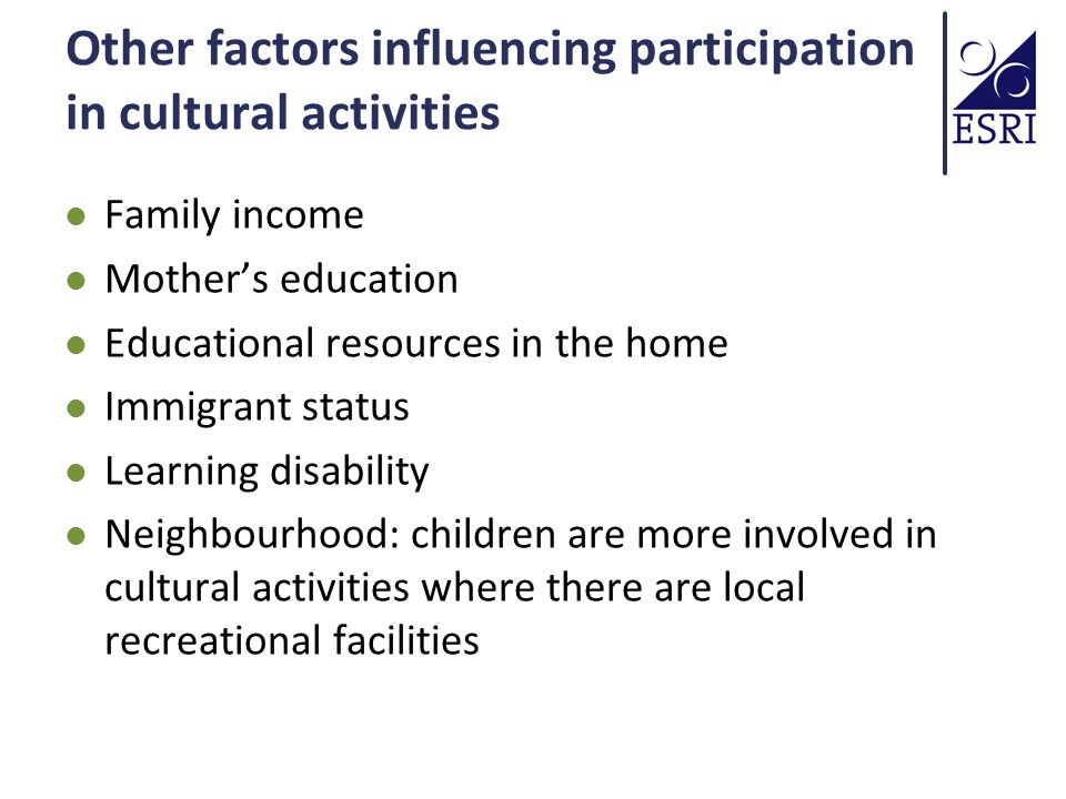 Other factors influencing participation in cultural activities Family income Mother's education Educational resources in the home Immigrant status Learning disability Neighbourhood: children are more involved in cultural activities where there are local recreational facilities