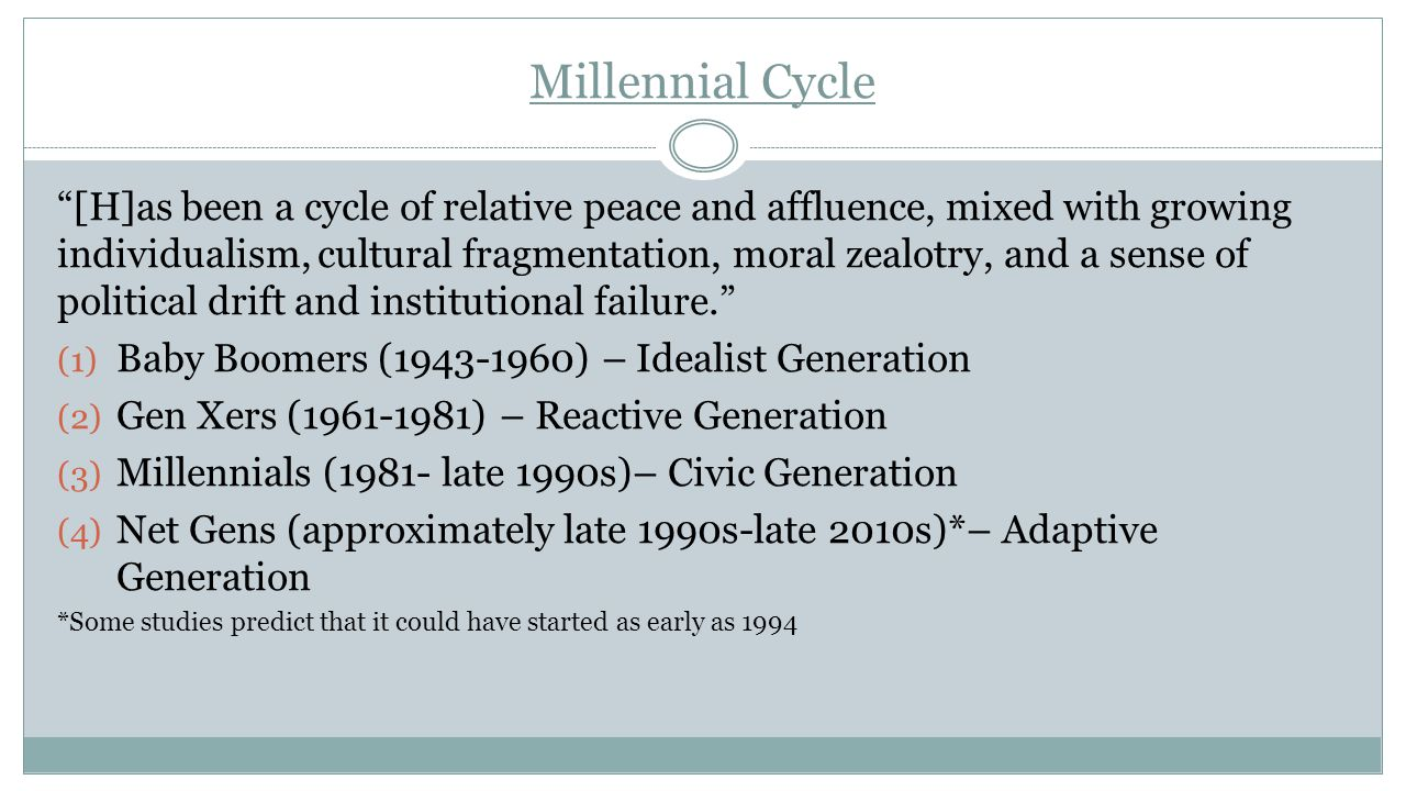 "Millennial Cycle ""[H]as been a cycle of relative peace and affluence, mixed with growing individualism, cultural fragmentation, moral zealotry, and a"