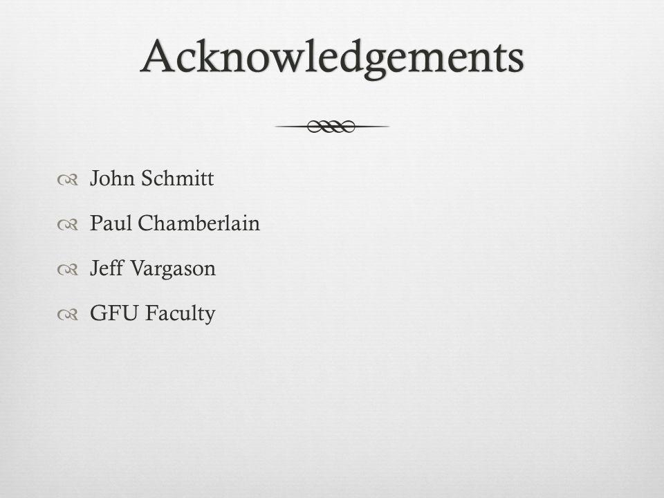 Acknowledgements  John Schmitt  Paul Chamberlain  Jeff Vargason  GFU Faculty