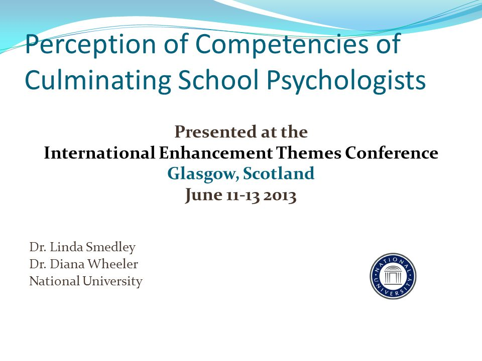 Surveyed culminating candidates in school psychology training program Part of a more complex study Importance of perceived competencies in relation to university curriculum