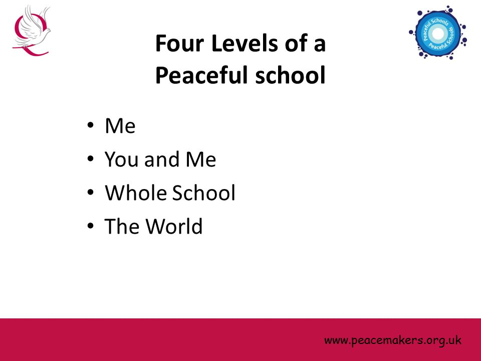 Four Levels of a Peaceful school Me You and Me Whole School The World www.peacemakers.org.uk