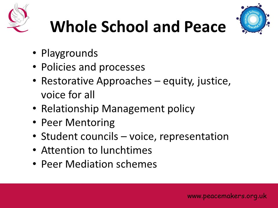 Playgrounds Policies and processes Restorative Approaches – equity, justice, voice for all Relationship Management policy Peer Mentoring Student counc