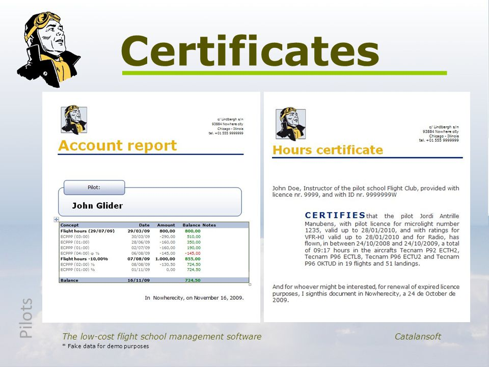 Certificates The low-cost flight school management softwareCatalansoft * Fake data for demo purposes Pilots