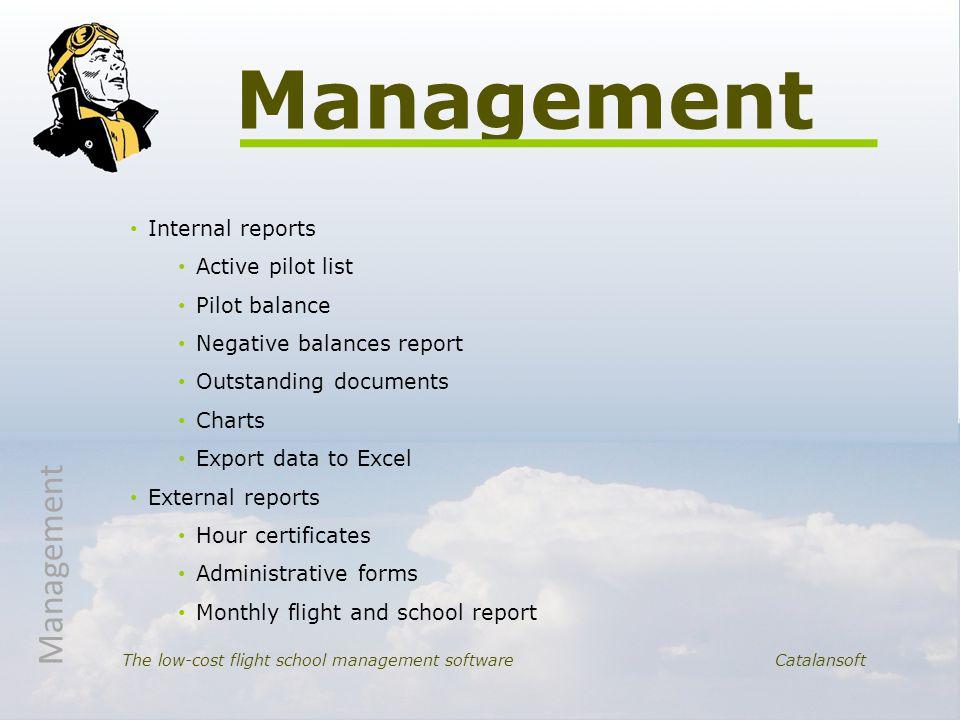 Internal reports Active pilot list Pilot balance Negative balances report Outstanding documents Charts Export data to Excel External reports Hour cert