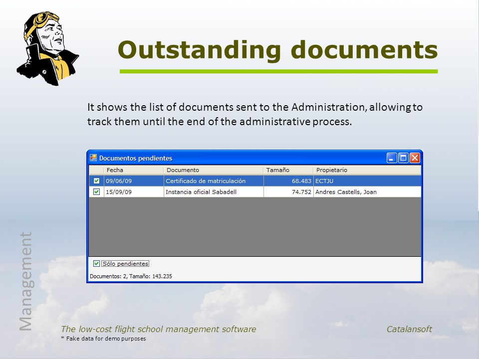 Outstanding documents The low-cost flight school management software Catalansoft It shows the list of documents sent to the Administration, allowing to track them until the end of the administrative process.