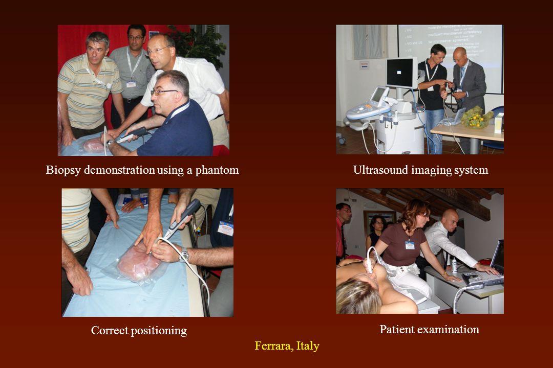 Ultrasound imaging systemBiopsy demonstration using a phantom Correct positioning Patient examination Ferrara, Italy