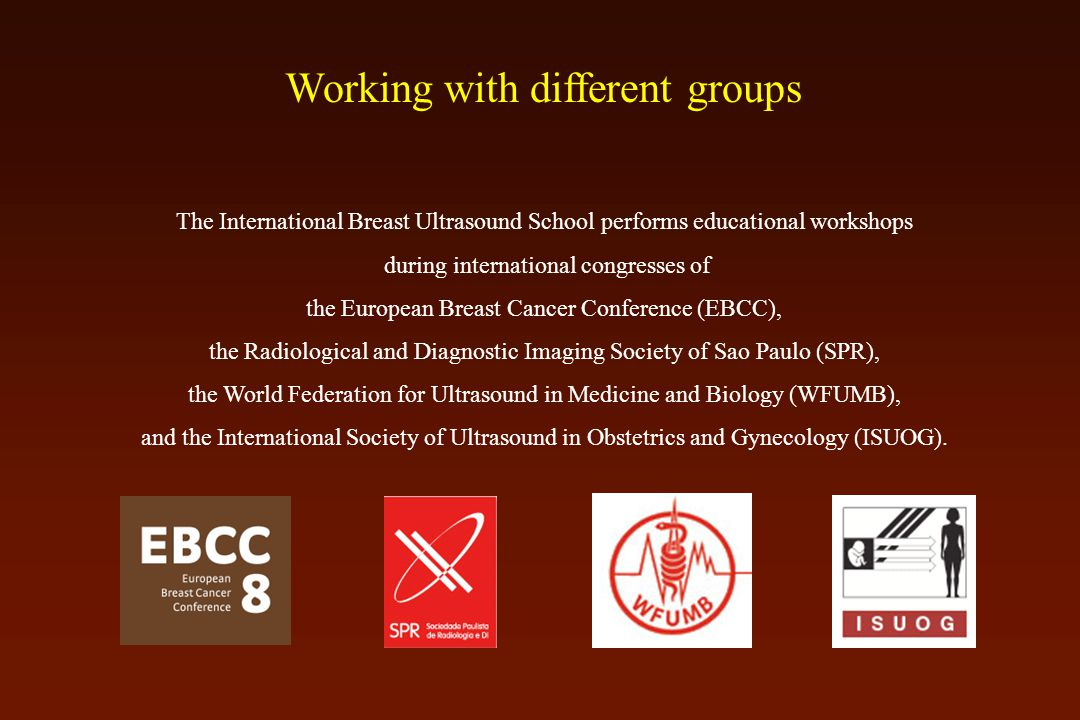 Working with different groups The International Breast Ultrasound School performs educational workshops during international congresses of the European Breast Cancer Conference (EBCC), the Radiological and Diagnostic Imaging Society of Sao Paulo (SPR), the World Federation for Ultrasound in Medicine and Biology (WFUMB), and the International Society of Ultrasound in Obstetrics and Gynecology (ISUOG).